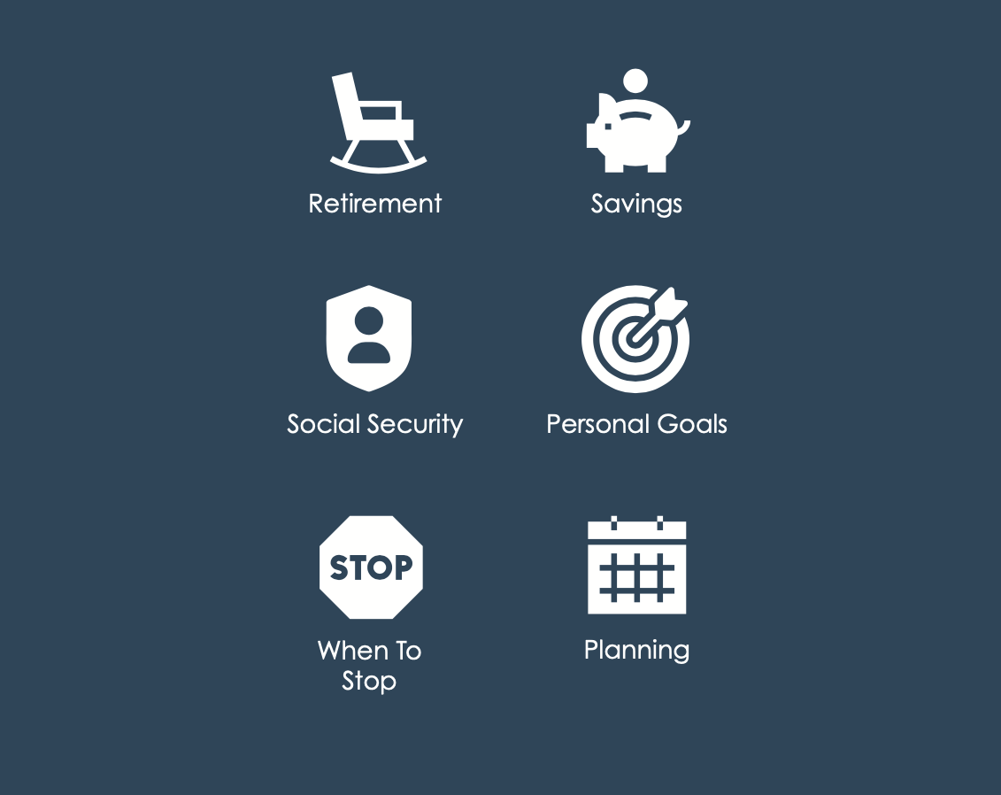 Icons that say Retirement,                     Social Security, When To Stop, Savings, Personal Goals, Planning